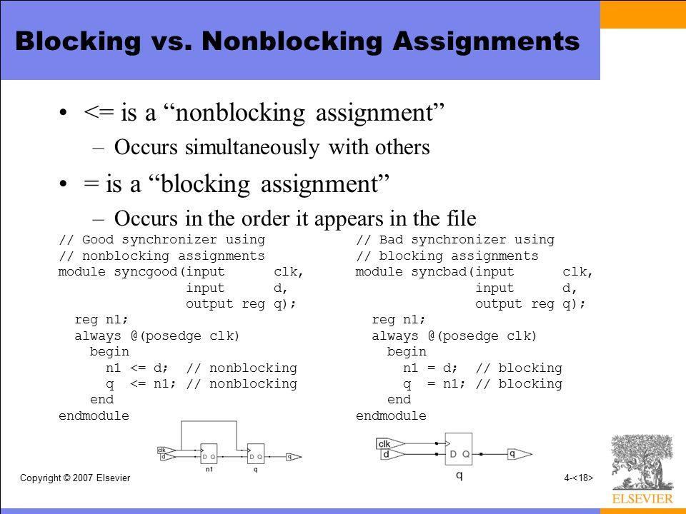 Blocking vs. Nonblocking Assignments