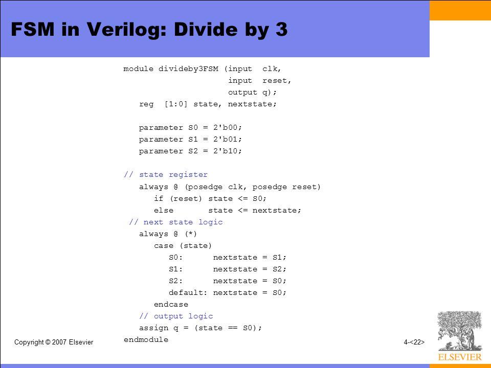 FSM in Verilog: Divide by 3