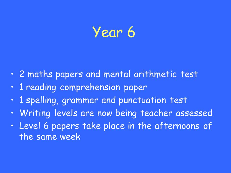 Year 6 2 maths papers and mental arithmetic test