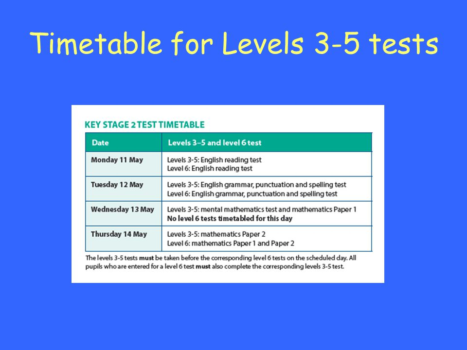 Timetable for Levels 3-5 tests