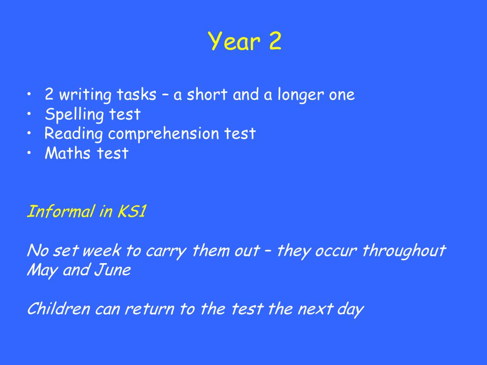 Year 2 2 writing tasks – a short and a longer one Spelling test