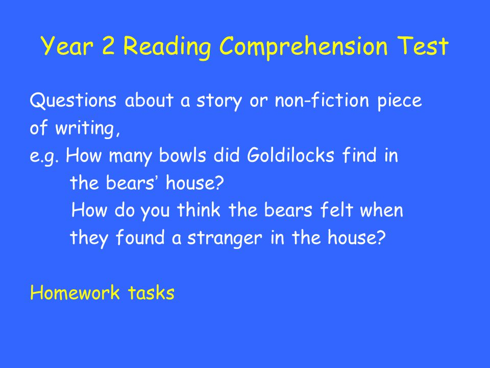 Year 2 Reading Comprehension Test
