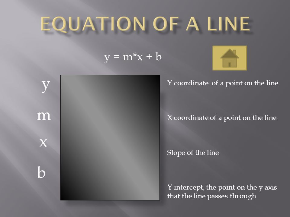 Equation of a line y m x b y = m*x + b