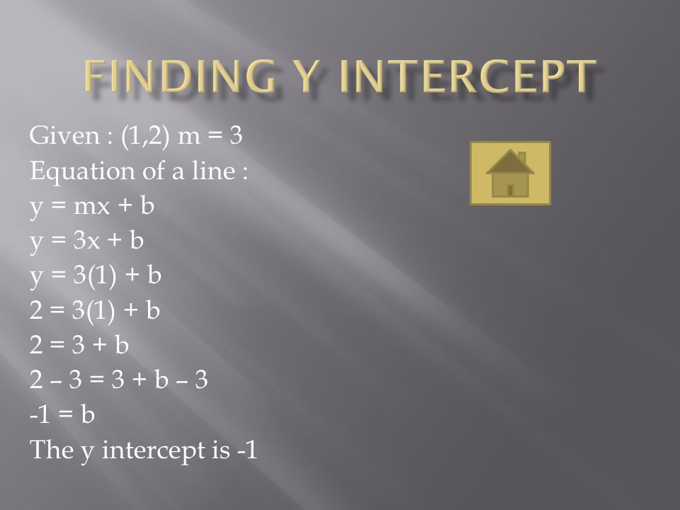 Finding y intercept Given : (1,2) m = 3 Equation of a line :