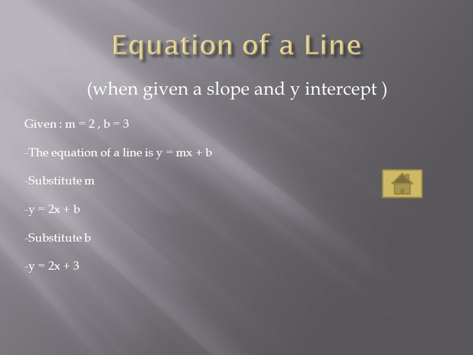 Equation of a Line (when given a slope and y intercept )