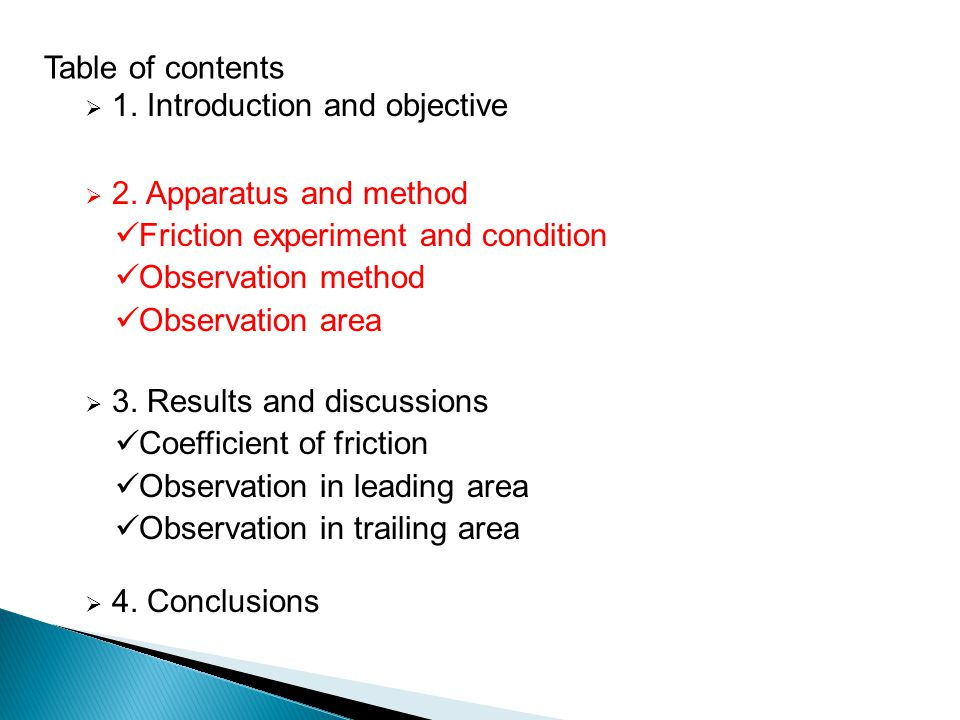 1. Introduction and objective 2. Apparatus and method