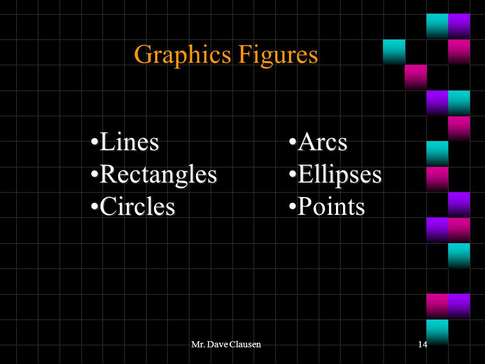 Graphics Figures Lines Rectangles Circles Arcs Ellipses Points
