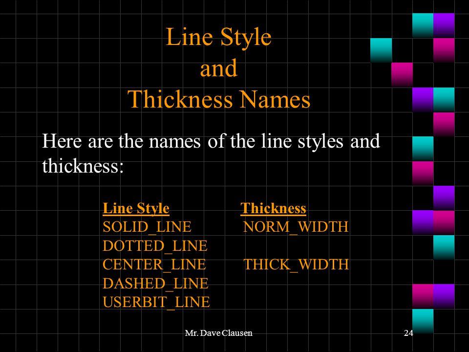 Line Style and Thickness Names