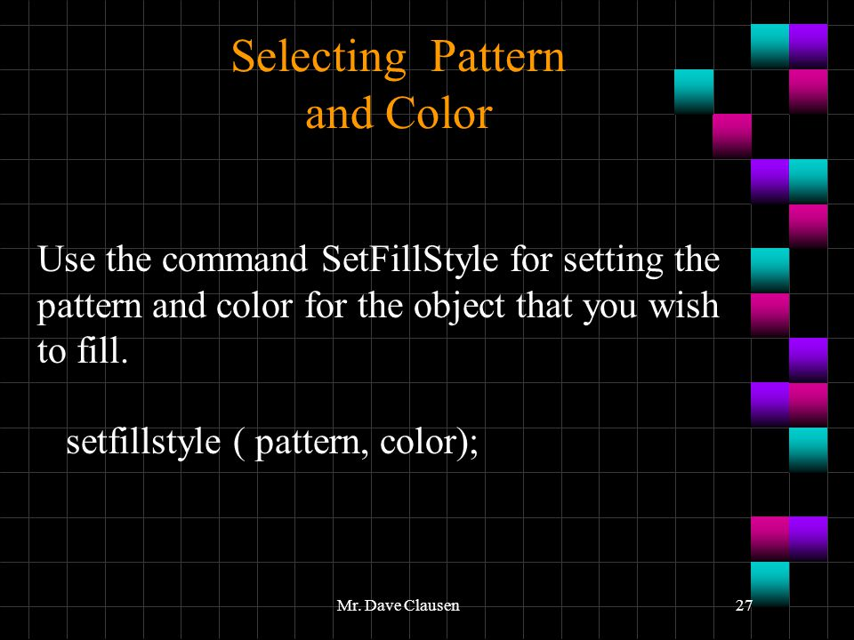 Selecting Pattern and Color