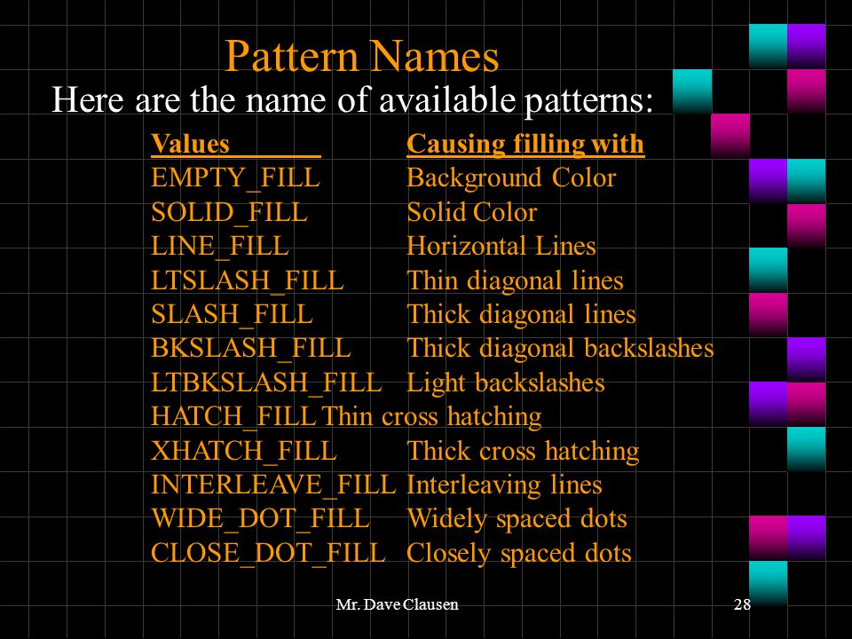 Pattern Names Here are the name of available patterns: