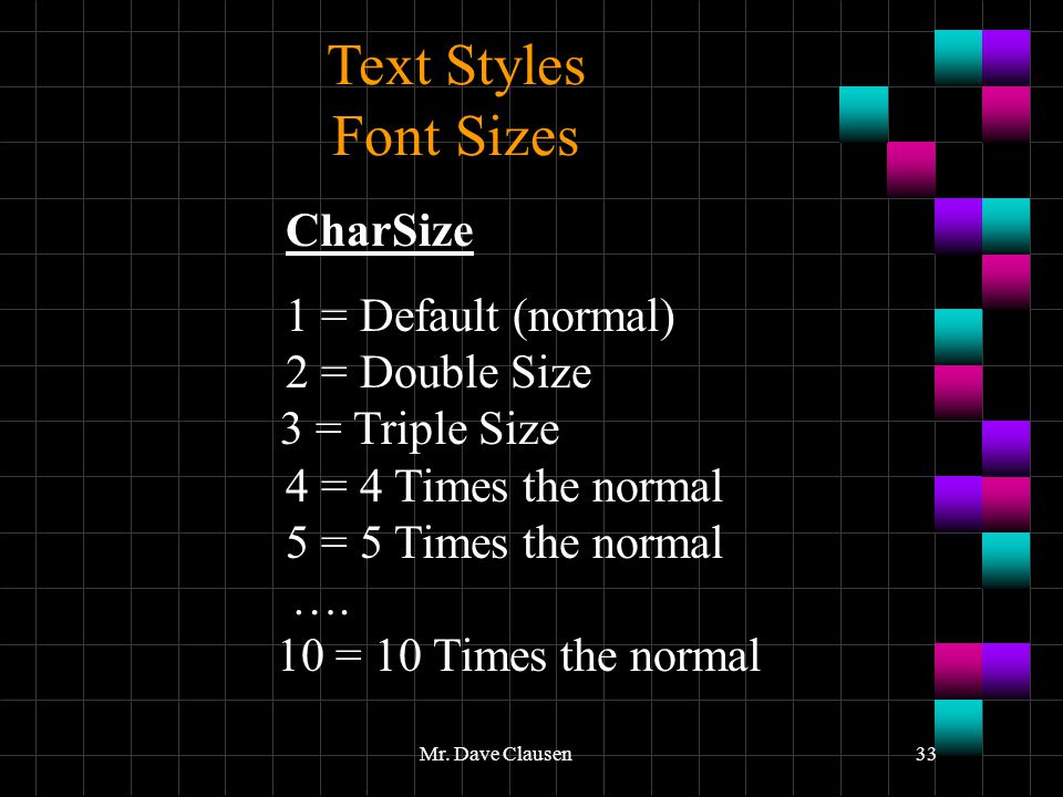 Text Styles Font Sizes 1 = Default (normal) 2 = Double Size