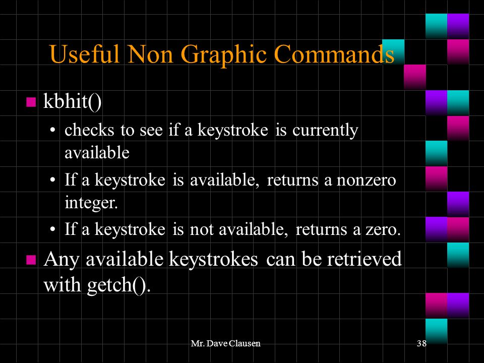 Useful Non Graphic Commands