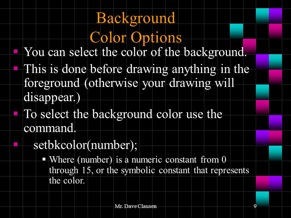Background Color Options