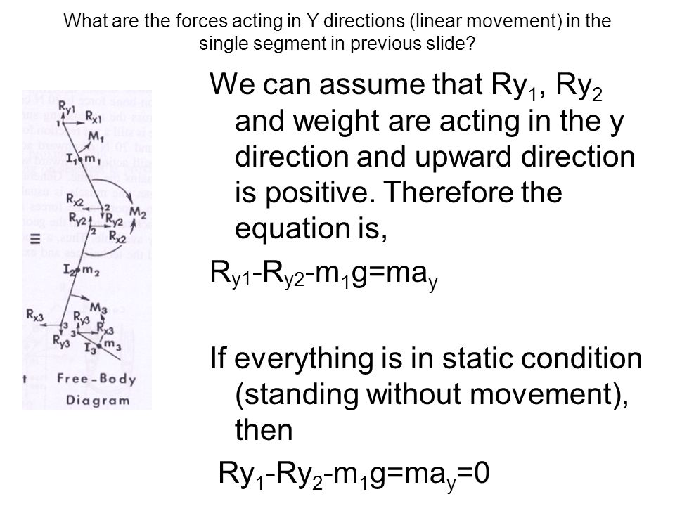What are the forces acting in Y directions (linear movement) in the single segment in previous slide