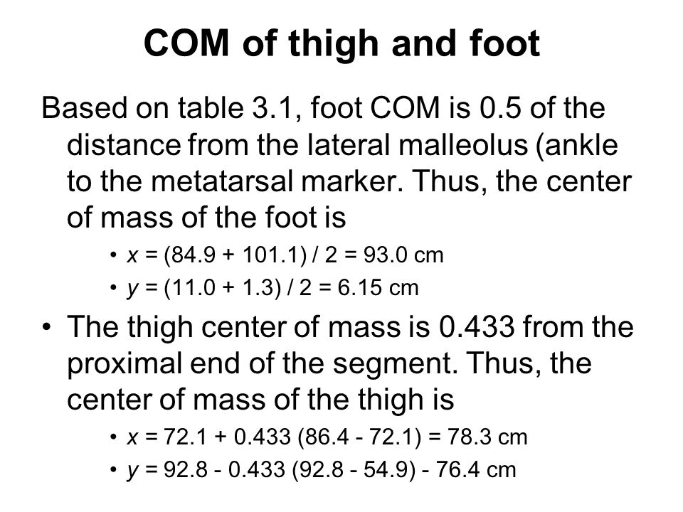 COM of thigh and foot
