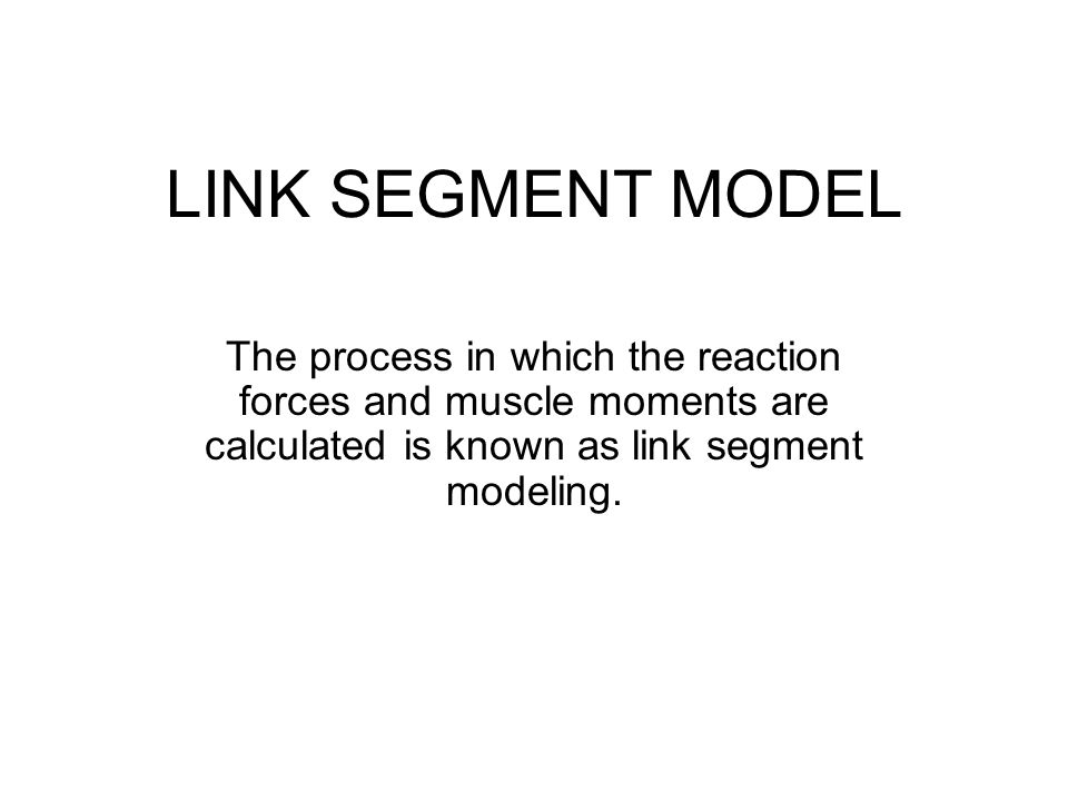 LINK SEGMENT MODEL The process in which the reaction forces and muscle moments are calculated is known as link segment modeling.