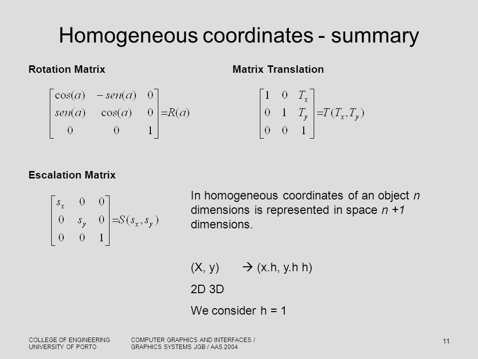 Homogeneous coordinates - summary