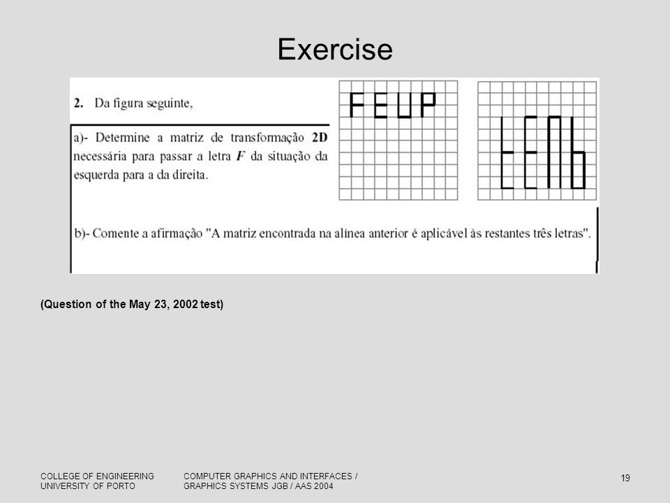 Exercise (Question of the May 23, 2002 test)