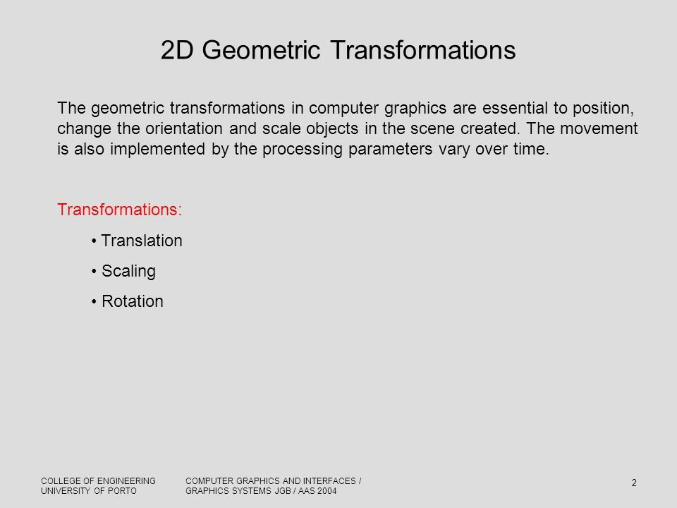 2D Geometric Transformations