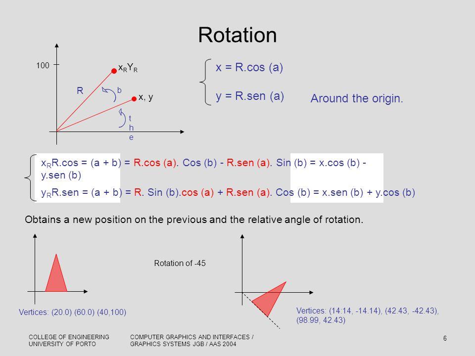 Rotation x = R.cos (a) y = R.sen (a) Around the origin.