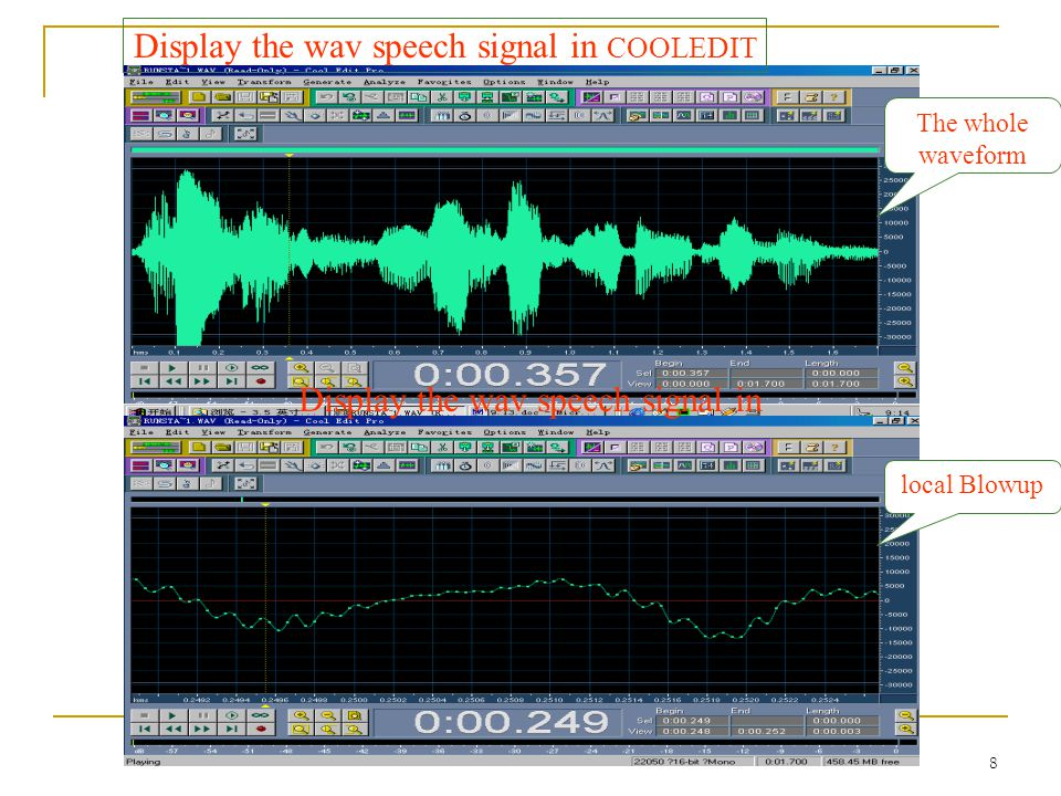 Display the wav speech signal in COOLEDIT