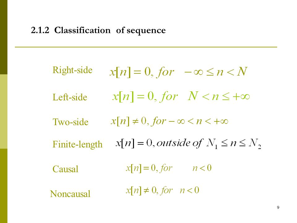 2.1.2 Classification of sequence