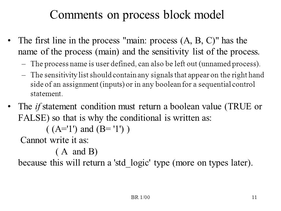 Comments on process block model