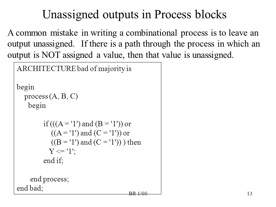 Unassigned outputs in Process blocks