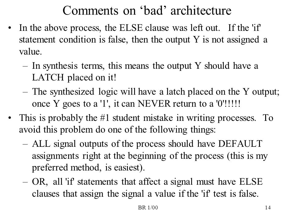 Comments on 'bad' architecture