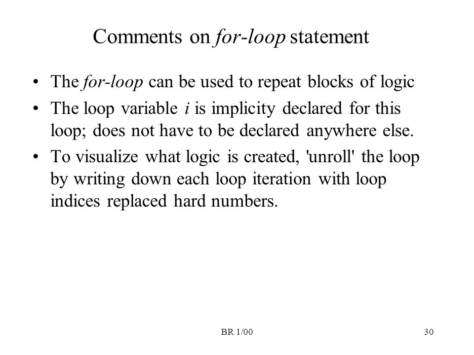 Comments on for-loop statement