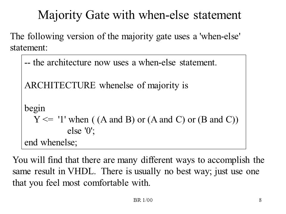 Majority Gate with when-else statement