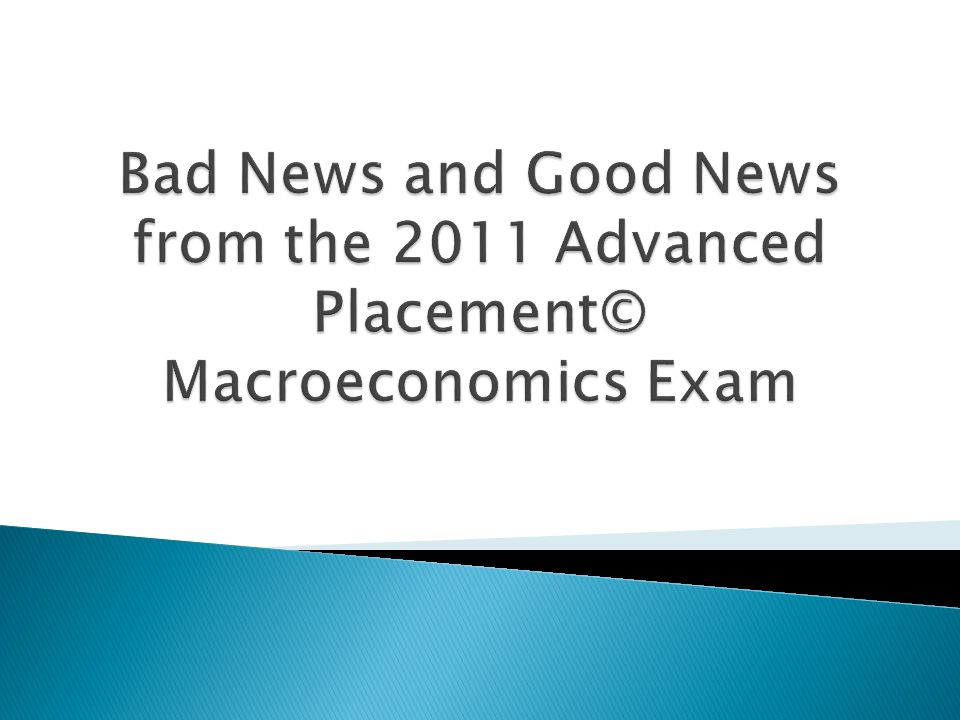 Bad News and Good News from the 2011 Advanced Placement© Macroeconomics Exam