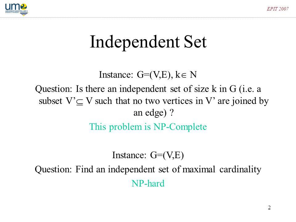 Independent Set Instance: G=(V,E), k N