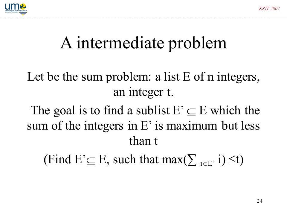 A intermediate problem