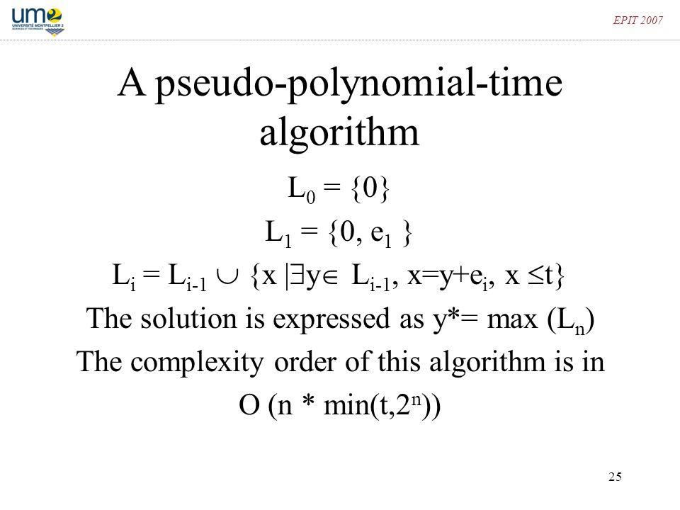 A pseudo-polynomial-time algorithm