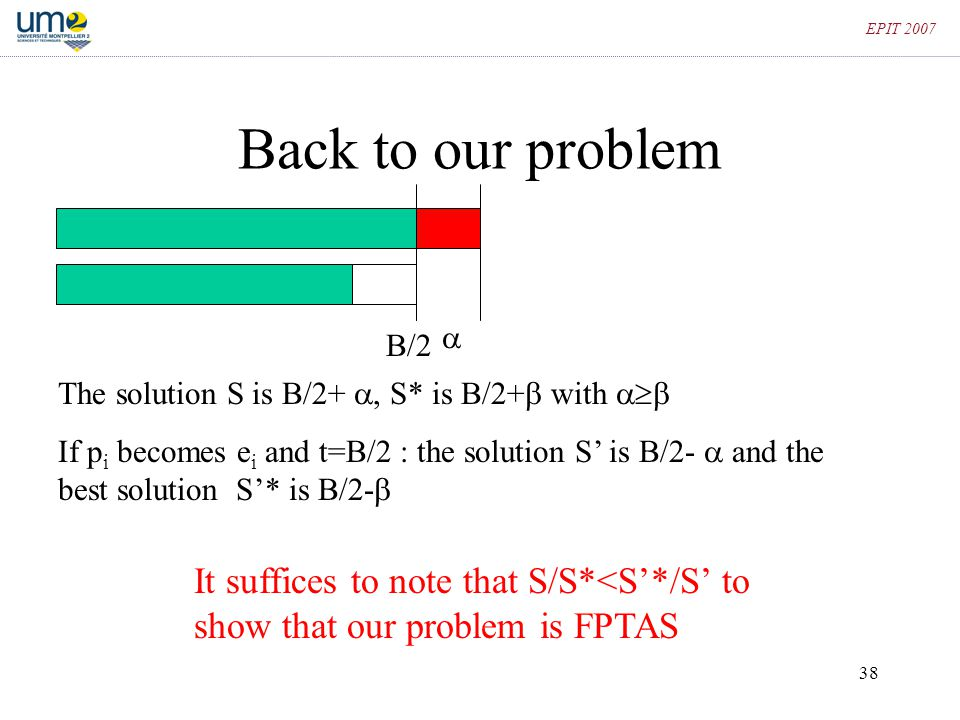 EPIT 2007 Back to our problem.  B/2. The solution S is B/2+ , S* is B/2+ with 
