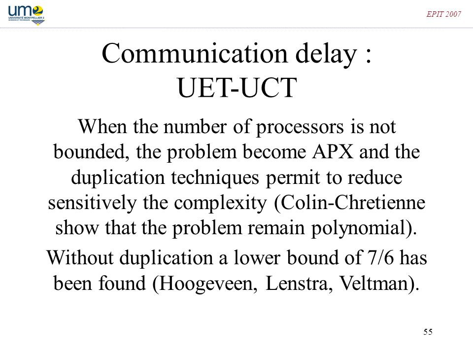 Communication delay : UET-UCT