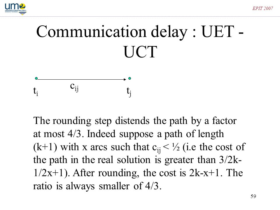 Communication delay : UET - UCT