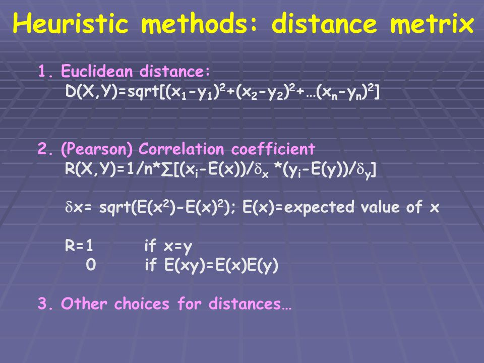 Heuristic methods: distance metrix