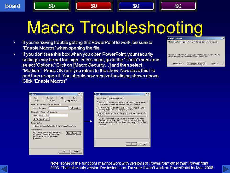 Macro Troubleshooting