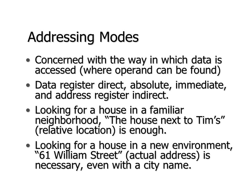 Addressing Modes Concerned with the way in which data is accessed (where operand can be found)