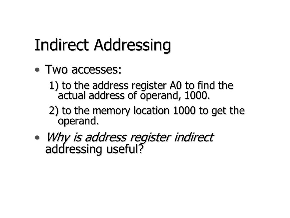 Indirect Addressing Two accesses: