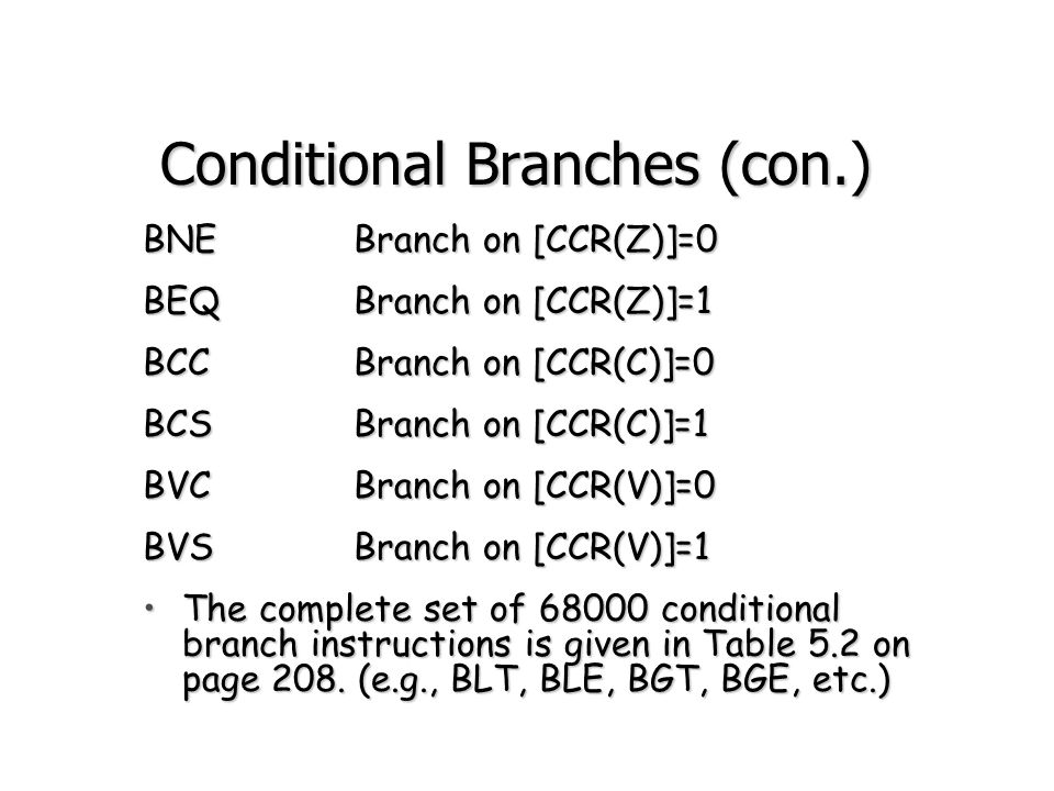 Conditional Branches (con.)