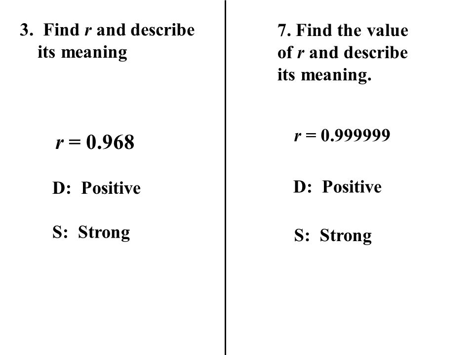 r = 0.968 3. Find r and describe its meaning