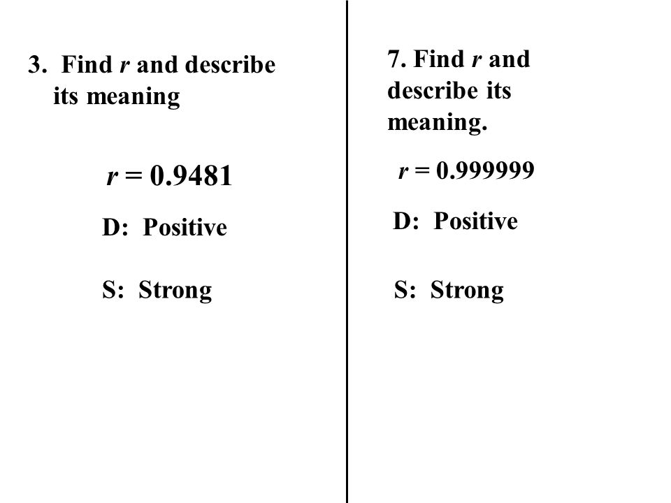 r = 0.9481 7. Find r and describe its meaning.