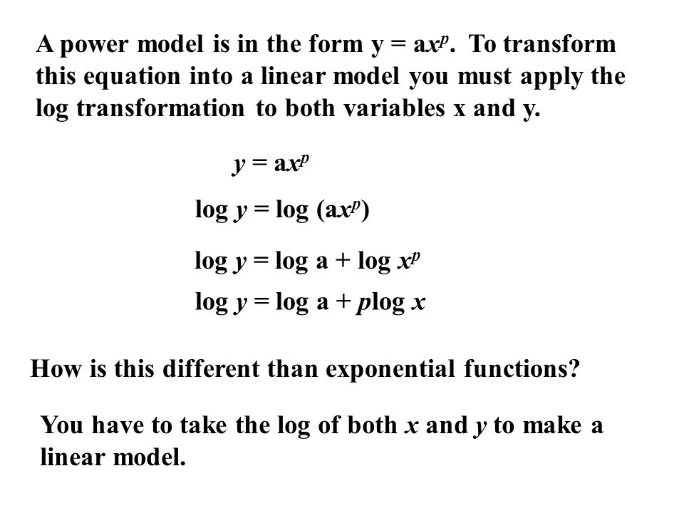 A power model is in the form y = axp
