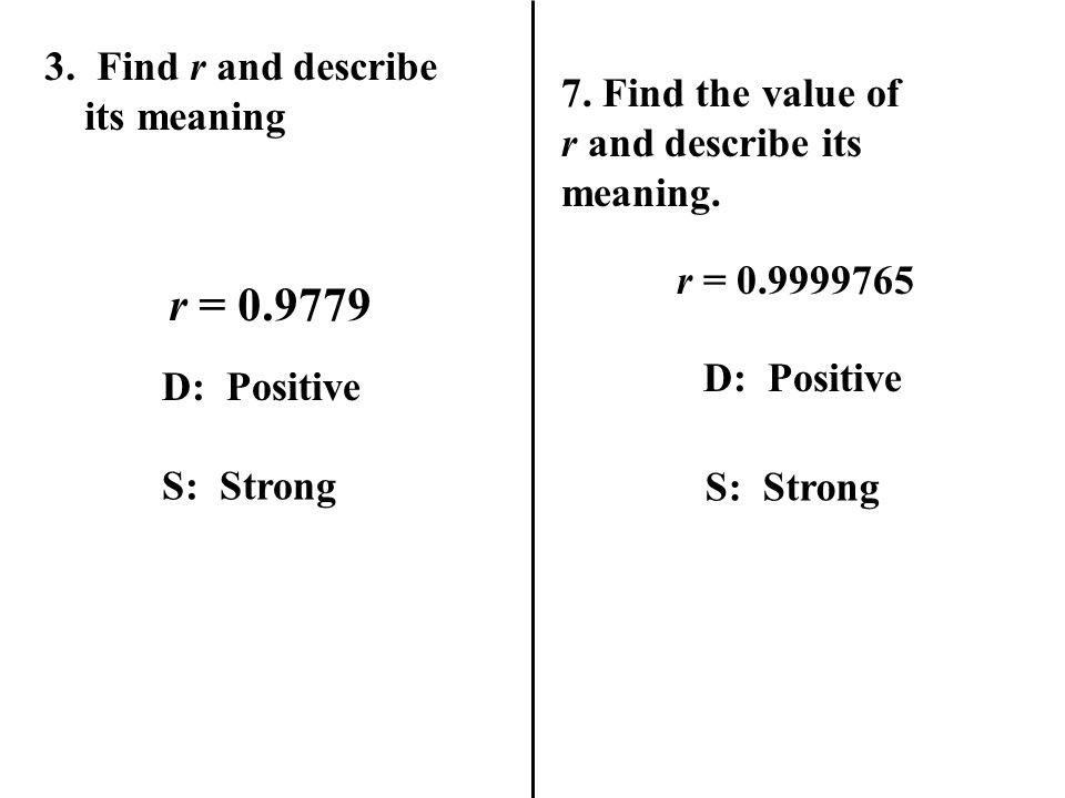 r = 0.9779 3. Find r and describe its meaning