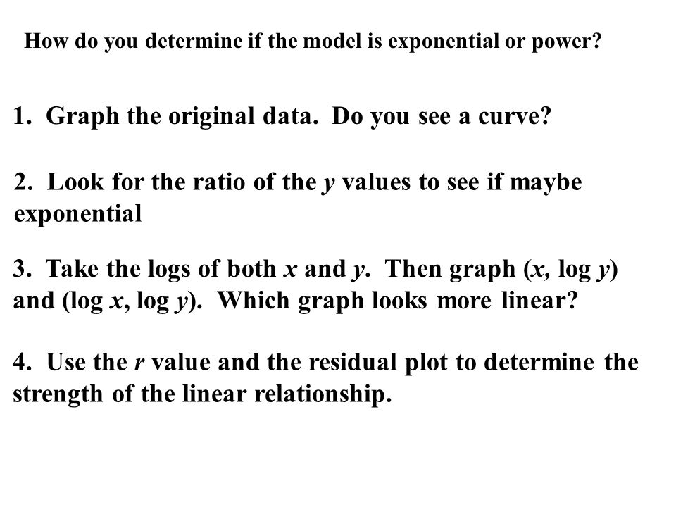 1. Graph the original data. Do you see a curve