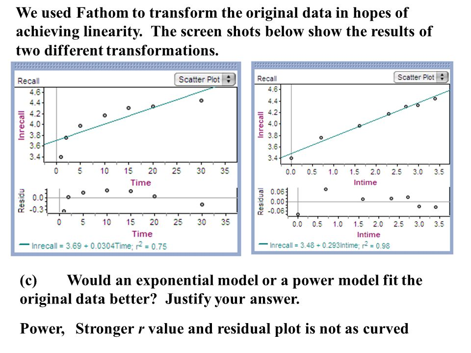 We used Fathom to transform the original data in hopes of achieving linearity. The screen shots below show the results of two different transformations.