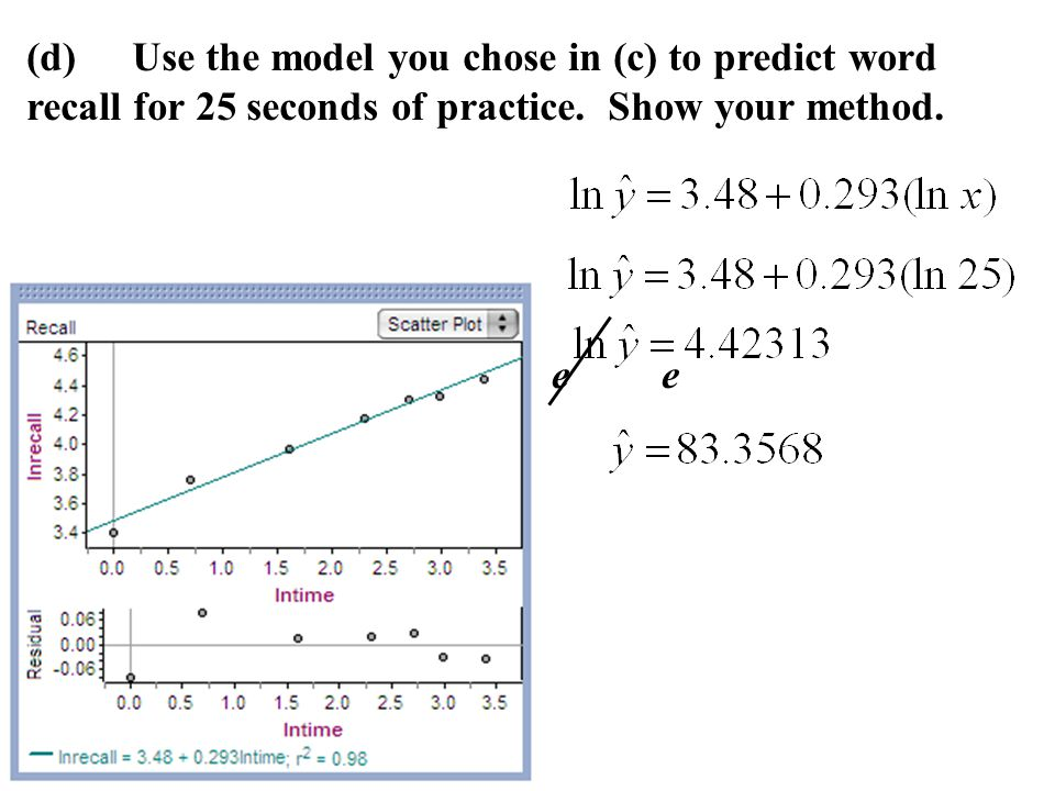 (d) Use the model you chose in (c) to predict word recall for 25 seconds of practice. Show your method.